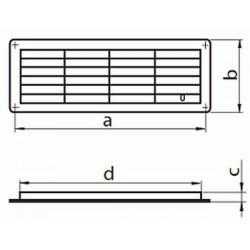 Kratka wentylacyjna drzwiowa z regulacją przepływu powietrza seria WP MV 450 R