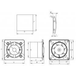 Wentylator łazienkowy (osiowy) Turbo ESCUDO PEB, biały panel KWT100CTR+PEB100