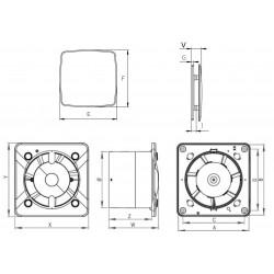 Wentylator łazienkowy (osiowy) Silent Trax Glass, 26 dB • KWS 125H  + PNB 125 • Awenta • bardzo cichy • TANIA PROFESJONALNA DOST
