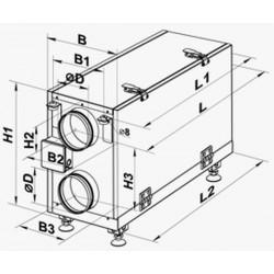 Nawiewno-wywiewna centrala wentylacyjna (rekuperator) z odzyskiem ciepła seria VUT H mini